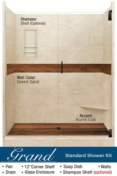 "Stone & Wood Accent Shower Kit Burnt Oak 60"" Alcove G  Google Shower - American Bath Factory"