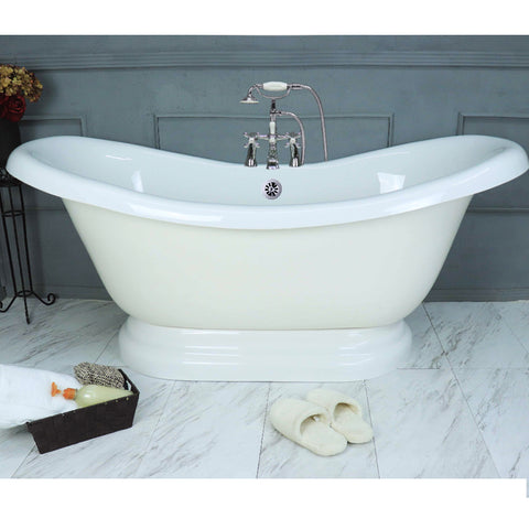 "Double Slipper Pedestal 67"" Bathtub Chrome  Google Ad Bathtub - American Bath Factory"