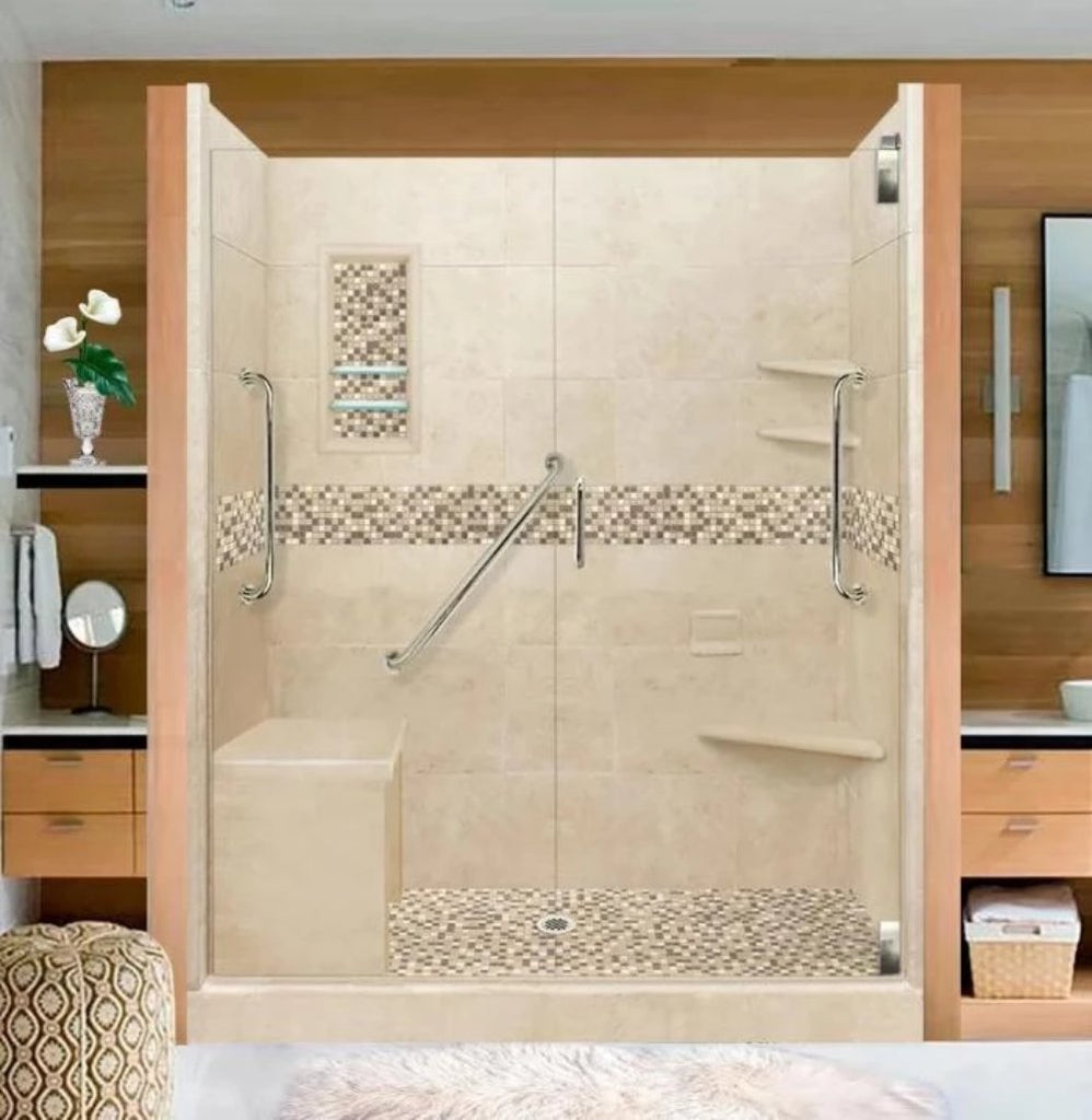 Stone Tile Shower Kit Roma 60 X 30 Freedom Grand Alcove With Glass Door