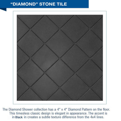 Diamond Solid Wet Cement Small Alcove Shower Kit