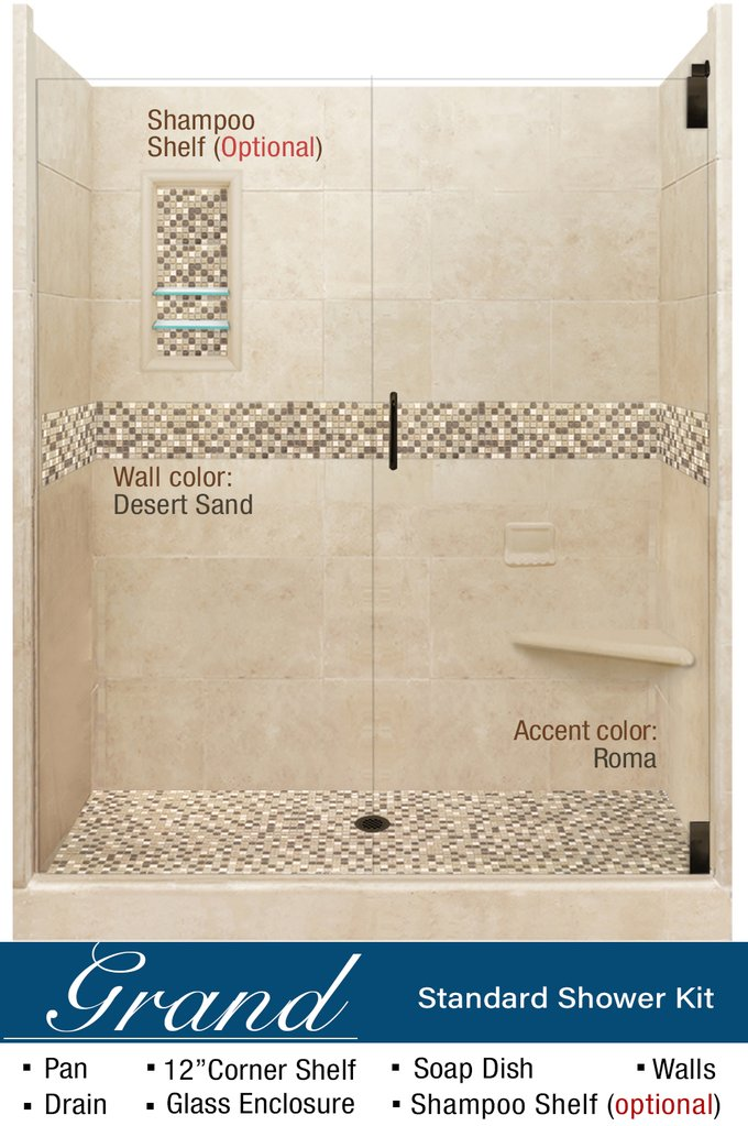 "Stone & Tile Shower Kit Roma 60"" Alcove With Glass Door G"