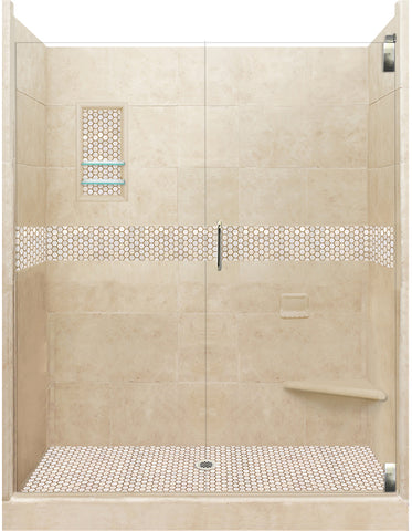 "Honey Hex Mosaic 60"" Alcove Shower Kit  Shower Kit - American Bath Factory"