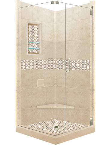 Honey Hex Mosaic Corner Shower Kit  Shower Kit - American Bath Factory