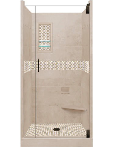 Honey Hex Mosaic Alcove Shower Kit  Shower Kit - American Bath Factory
