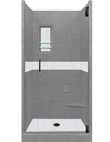Pearl Hex Mosaic Alcove Shower Kit  Shower Kit - American Bath Factory