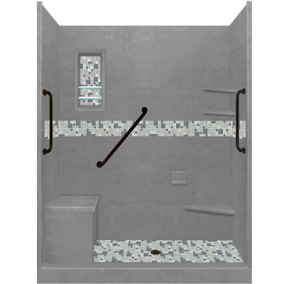 "Stone & Tile Shower Kit Newport 60"" x 30"" Freedom Basic Alcove  Google Ad Shower - American Bath Factory"