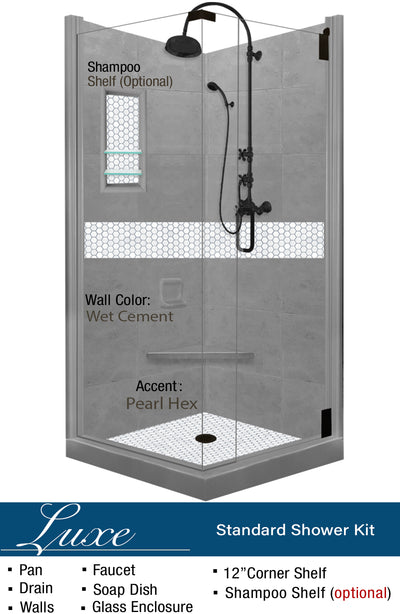 Pearl Hex Mosaic Corner Shower Kit  Shower Kit - American Bath Factory