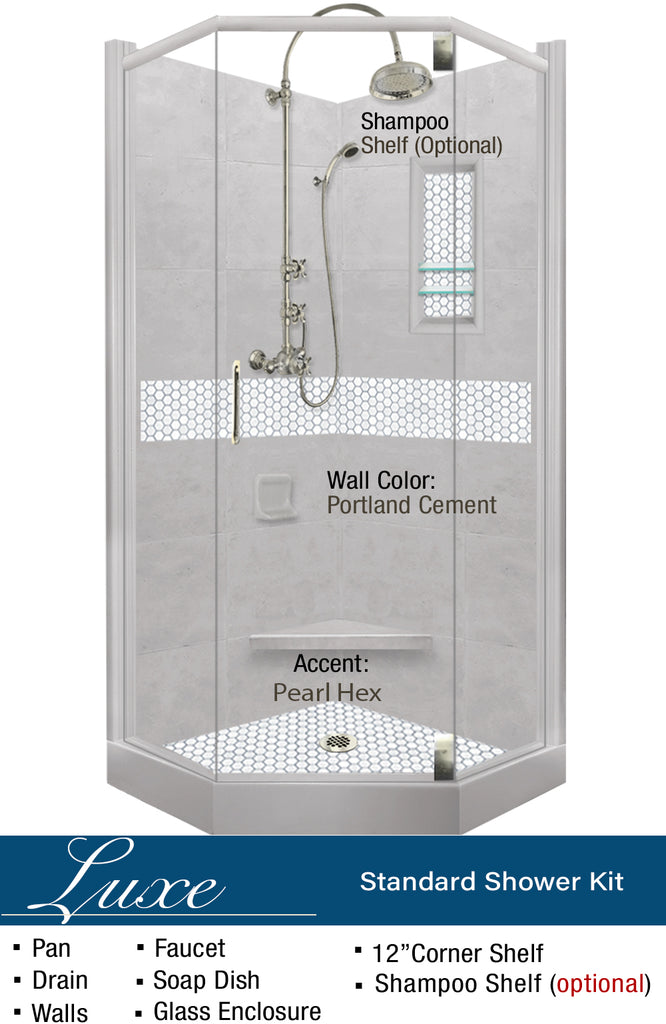 Pearl Hex Mosaic Neo-Angle Shower Kit  Shower Kit - American Bath Factory