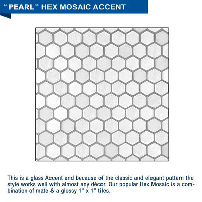 "Freedom Pearl Hex Mosaic Portland Cement 60"" Alcove Shower Kit"