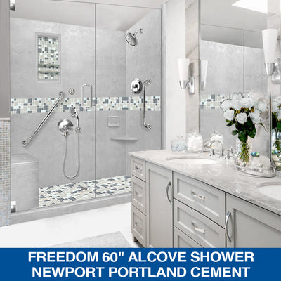 "Special SALE! Freedom Newport Portland Cement 60"" Alcove Shower COMPLETE KIT with FREE FAUCET & ACCESSORIES"