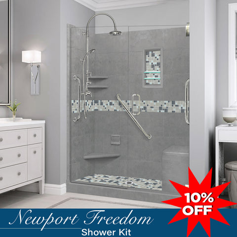 "Stone & Glass Mosaic Freedom Shower Kit Newport 60"" Alcove G"