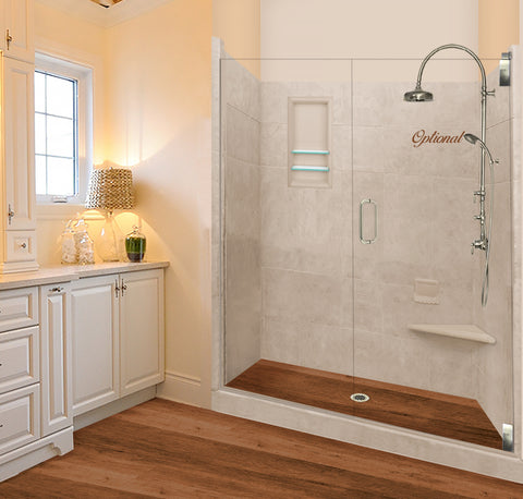 Stone & Wood Shower Kit LifeProof Burnt Oak 60 x 30 Grand Alcove With Glass Door