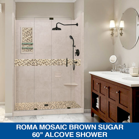 "SPECIAL DISCOUNTS! Roma Mosaic Brown Sugar 60"" Alcove Glass Shower Kit with FREE FAUCET"