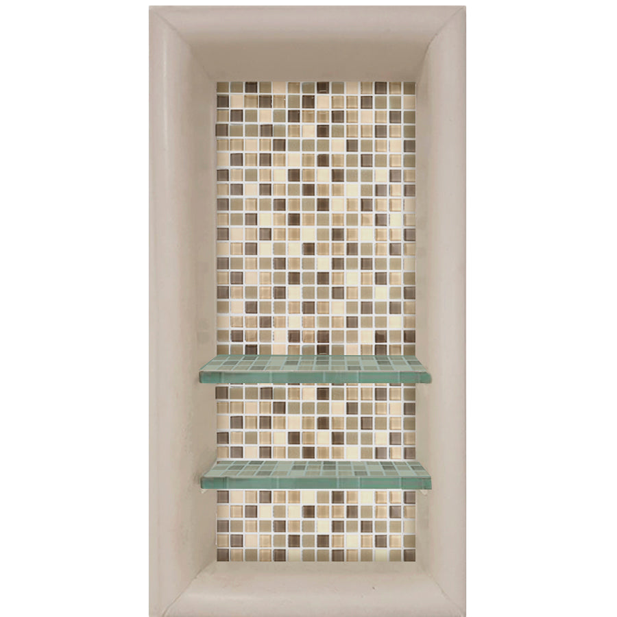 Mosaic Tile Vertical Shampoo Shelf  Shower Detail - American Bath Factory