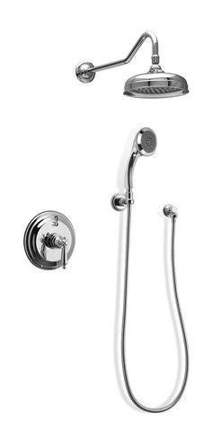 F92H In Wall Shower System with Pan Showerhead and Hand Shower