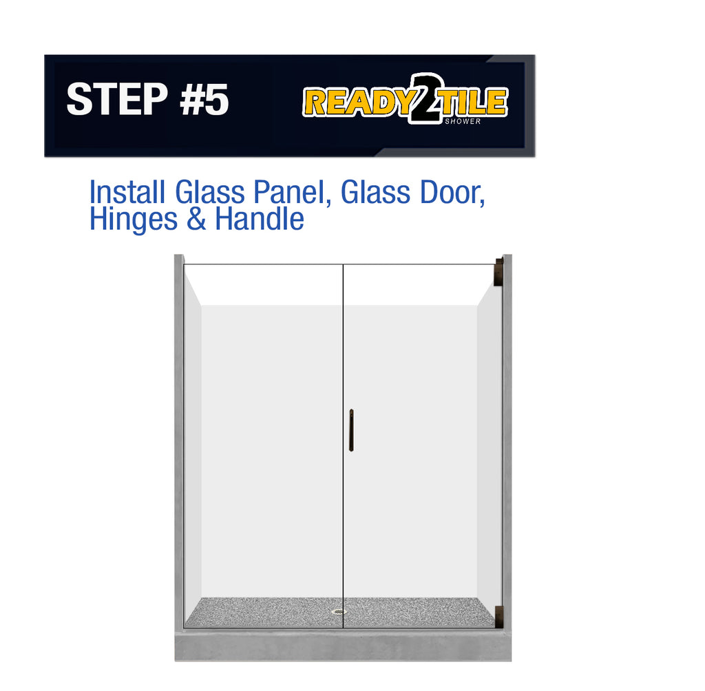 "Ready-2-Tile 60"" Alcove Pan with Glass Enclosure  Shower Kit - American Bath Factory"