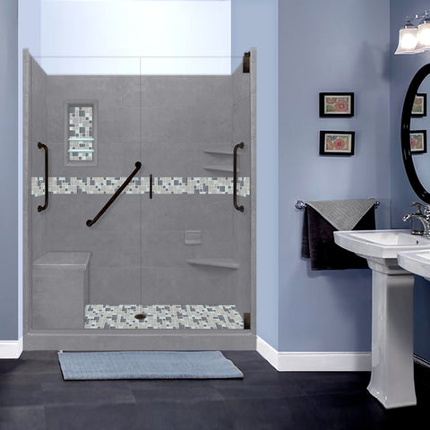 "Stone & Tile Shower Kit Newport 60"" x 30"" Freedom Grand Alcove With Glass Door"