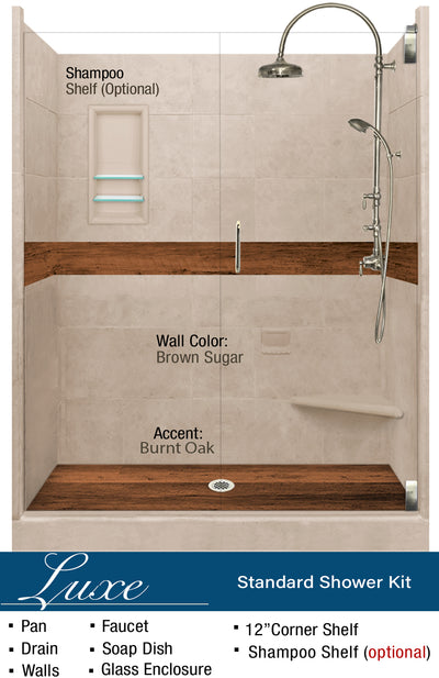 "Burnt Oak Lifeproof Flooring 60"" Alcove Shower Kit  Shower Kit - American Bath Factory"