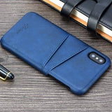 Vintage Leather Back Hard Case for iPhone 8 / 8+ / X
