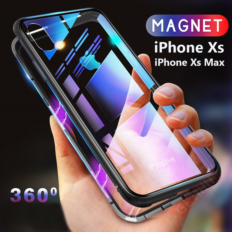 reputable site 4071e 6aeaa Magnetic Adsorption Metal Bumper Case For iPhone XS/XS Max Discount