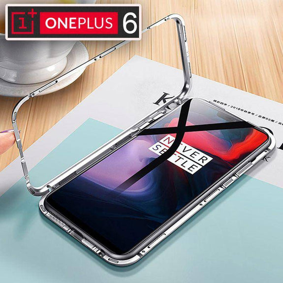 Discount Magnetic Adsorption Metal Bumper Case For Oneplus 6