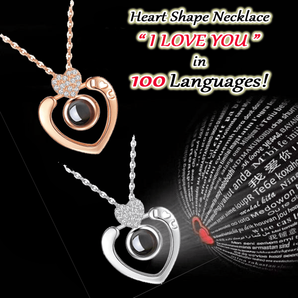 100 Ways To Say I Love You Heart Shape Necklace Bright