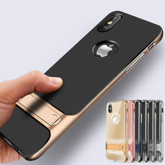 Luxury 3D Kickstand Hybrid Silicone Case for iPhone 8 / 8 Plus / X
