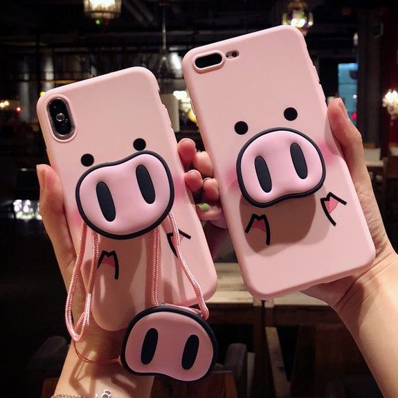 3D Pig Nose Kickstand Phone Case For iPhone X/XR/XS/MAX