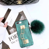 Luxury Green Crocodile Print Case for iPhone