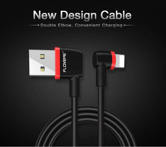 Reversible L Shape USB Charger Lighting Cable