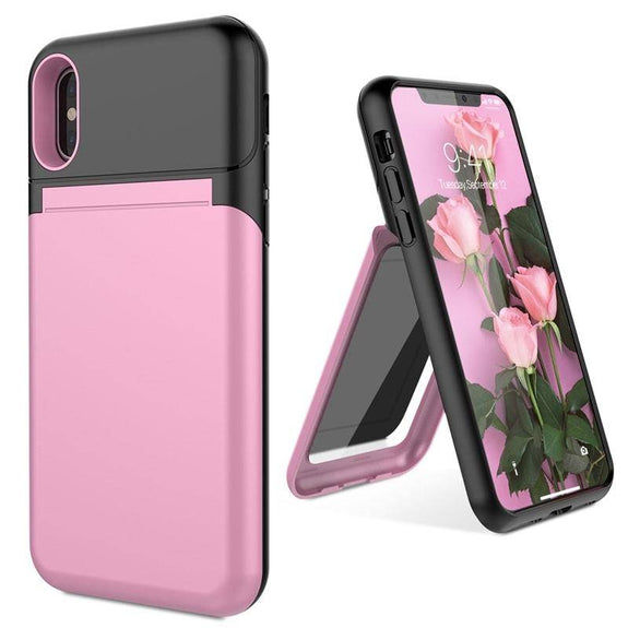 Hidden Credit Card Holder With Mirror Stand Case For Iphone X