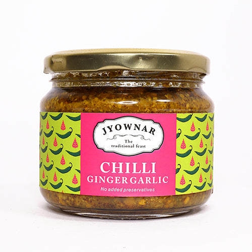 Green Chilli Ginger Garlic Pickle, 300gm