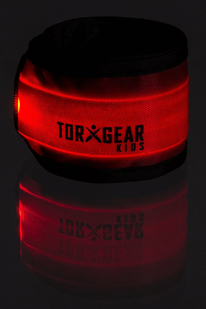 Red 2 Pack Child's LED Safety Slap Wristband (Hi-Vis Band for Active Kids) - TorxGear Kids