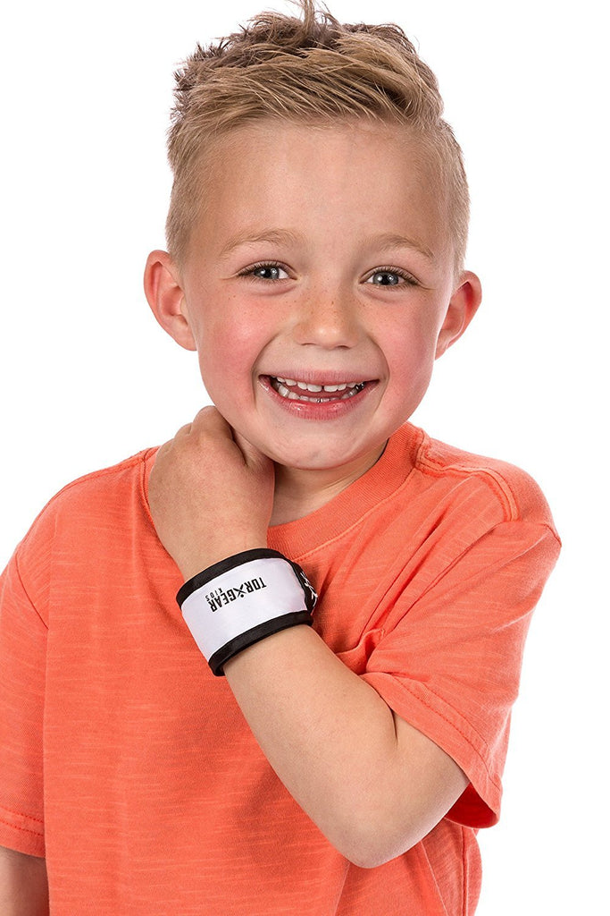 White 2 Pack Child's LED Safety Slap Wristband (Hi-Vis Band for Active Kids) - TorxGear Kids
