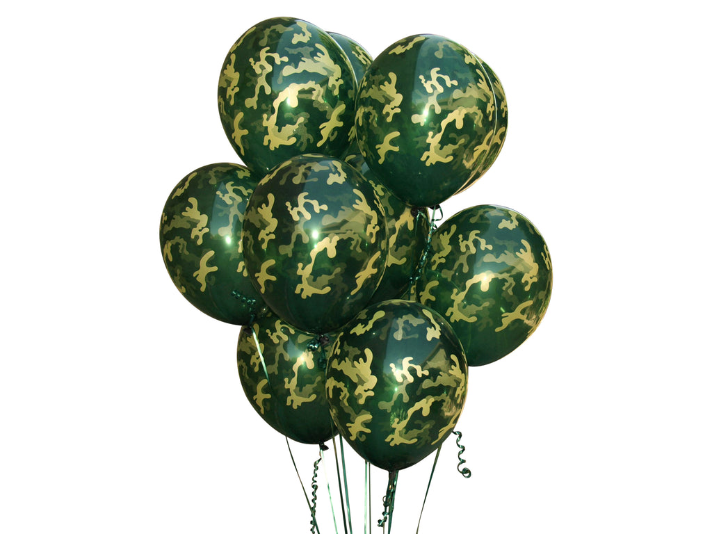Green Camouflage Balloons. 24Pk