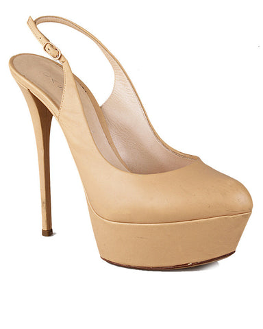 Casadei Light Beige Leather Platform Slingback <br>Size 38.5
