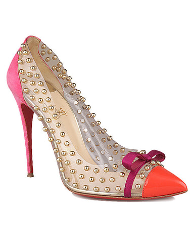 Christian Louboutin Billie Et Boule 100 Studded PVC and Suede Pumps<br>Size 41