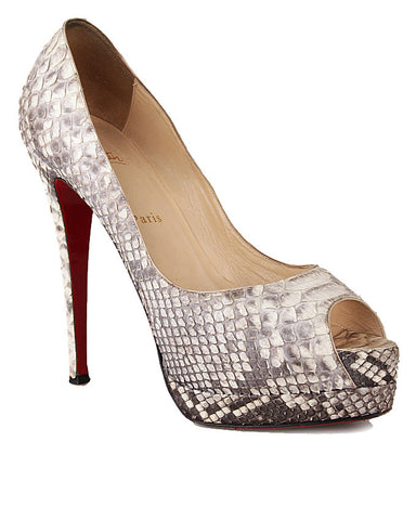 Christian Louboutin Banana 140mm Python Peep-Toe Pump <BR> Size 39.5