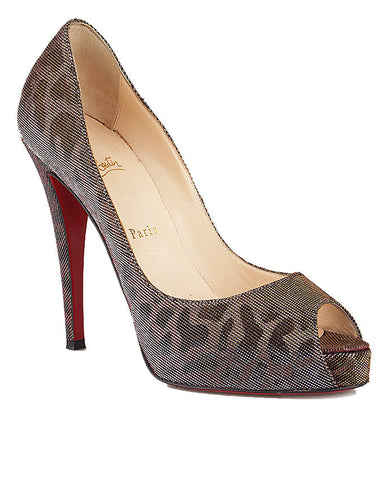 Christian Louboutin Very Prive Lame Peep Toe Pump <Size 39>