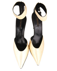 Sergio Rossi  Pointed Toe Ankle Strap Satin Pumps <br> Size 41.5