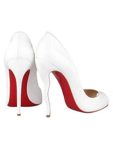 Christian Louboutin Jolly B 120mm White Patent Leather Pumps <br> 39