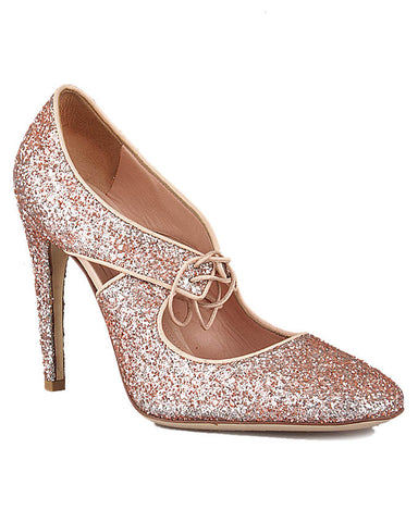 Bottega Veneta Flamingo Glitter Smooth Calf Pump  <br> Size 38