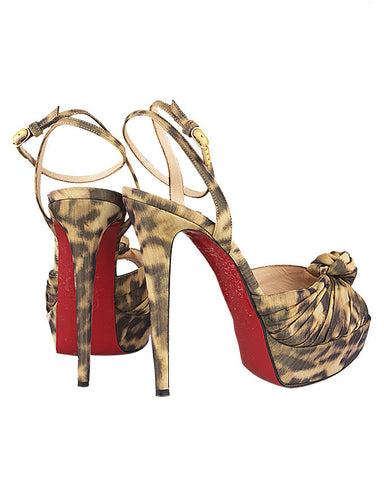 Christian Louboutin Print Peep Toe Sandals <br> Size 39.5