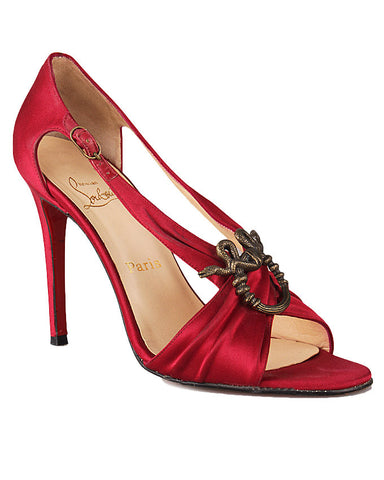 Christian Louboutin Red Satin Sandal <br> Size 39.5