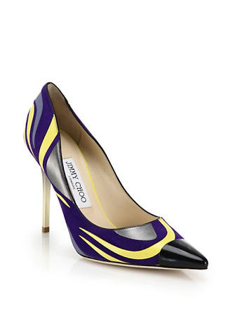 Jimmy Choo Violet, Yellow and Anthracite Leather  Pointy Toe Pumps <br> Size 39 & 40