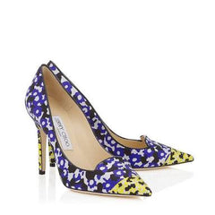 Jimmy Choo Violet & Yellow Floral Printed Jacquard Pointy Toe Pumps <br> 37.5
