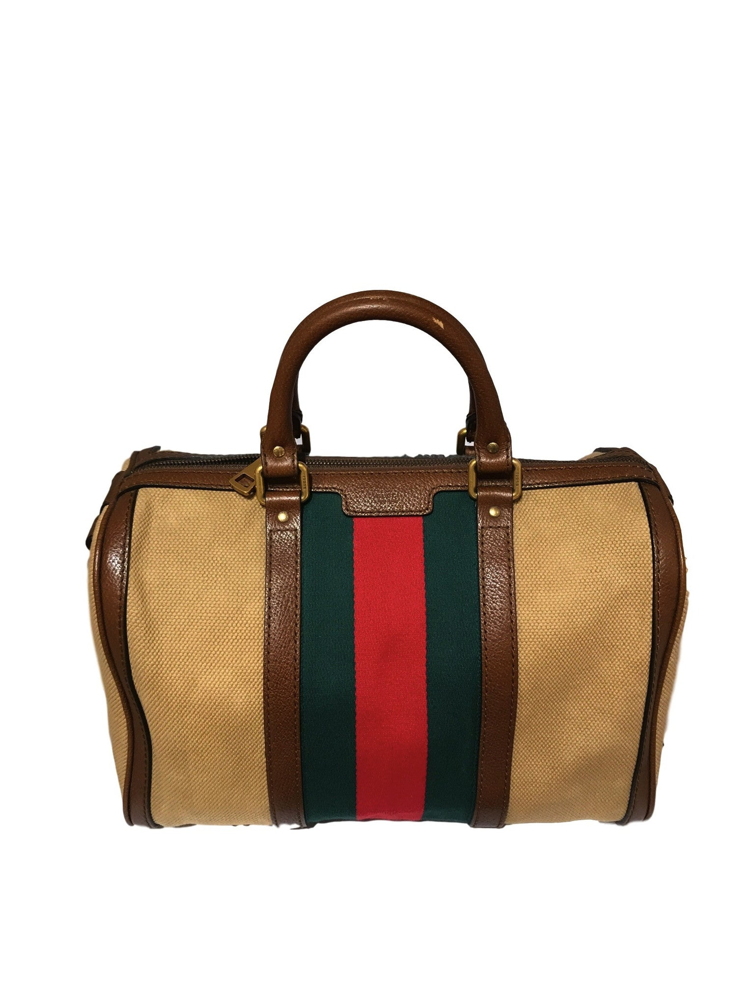 Gucci Vintage Web Washed Cotton Boston Bag