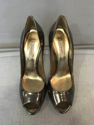 Casadei Blade Peep Toe Patent Pumps <br> Size 39