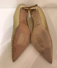 Jimmy Choo Gold Cubed Mirror Leather Pointy Toe Pumps <br> Size 37 & 39