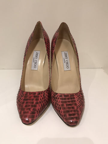 Jimmy Choo Pink and Black Python Pumps <br> Size 39